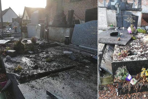 Deux photos des dégâts dans la cimetière de Bouin-Plumoison