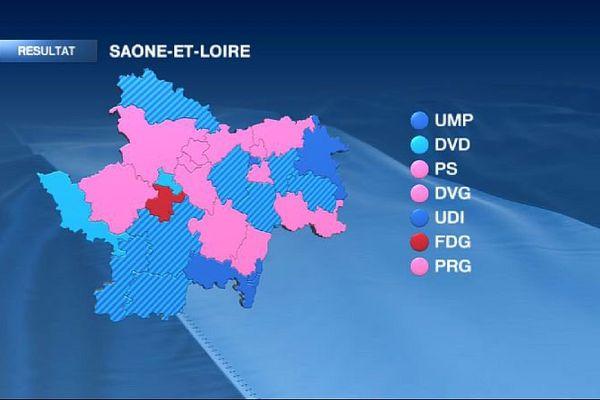 La carte des cantons de Saône-et-Loire à l'issue du 2e tour des élections départementales de mars 2015