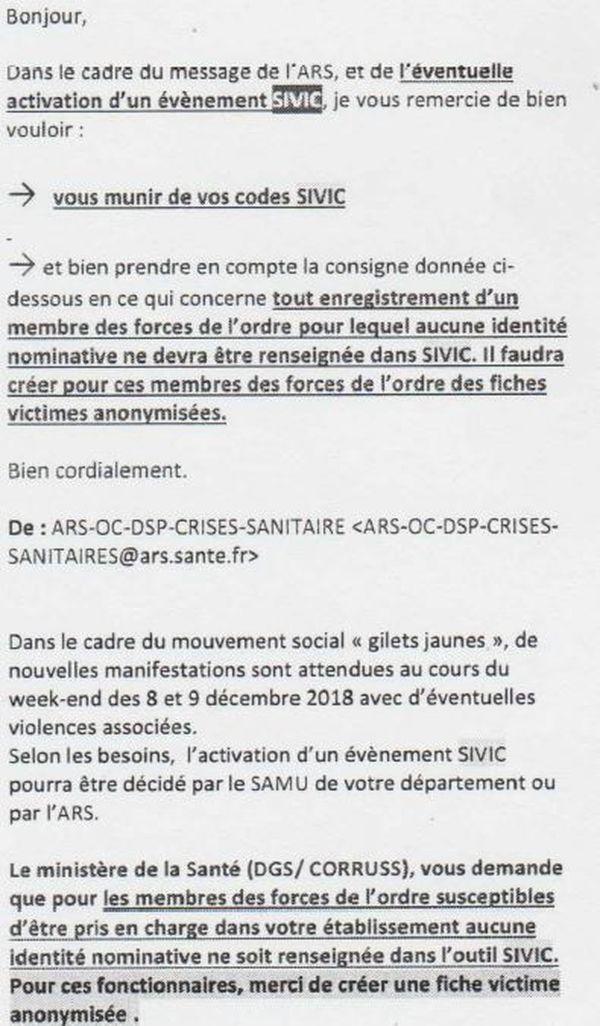 Mail envoyé par l'ARS aux Hôpitaux de Toulouse le 7 décembre 2018