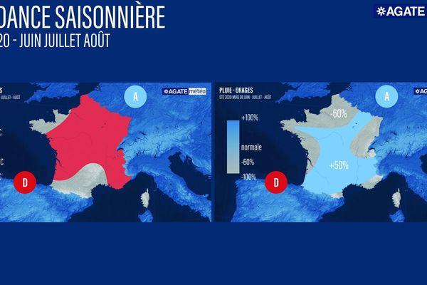 Tendance saisonnière pour les mois de juin, juillet et août. A gauche, les températures, en rouge 3 degrés au-dessus des normales saisonnières. A droite, les pluie-orages : -60% par rapport à la normale.