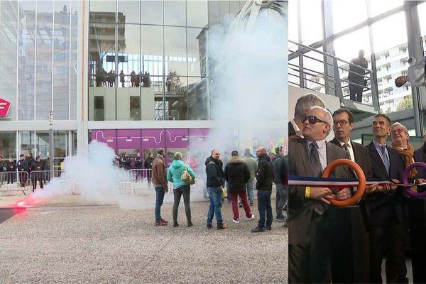 Lors de l'inauguration de la nouvelle gare de Chambéry, les manifestants sont rassemblés à quelques mètres sur le parvis.