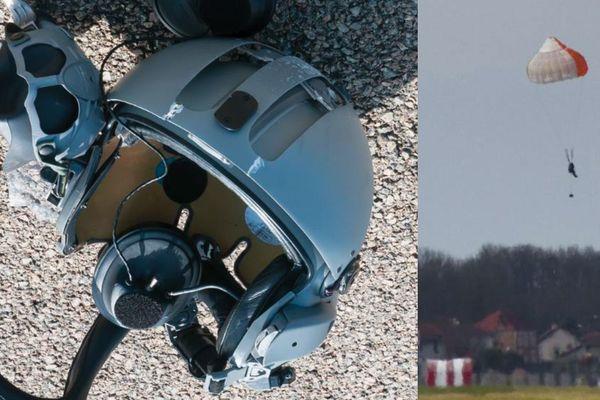 Le casque du passager retrouvé sur la piste et le passager avec son parachute de secours.