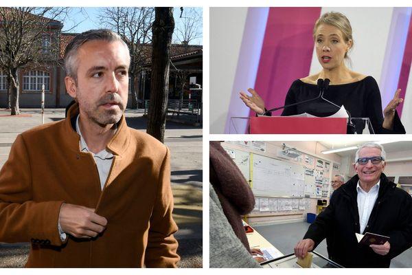 A Toulouse, les trois candidats de la gauche, Antoine Maurice (à gauche), Nadia Pellefigue (en haut à droite) et Pierre Cohen (en bas à droite), négocient depuis dimanche soir la fusion de leurs listes.
