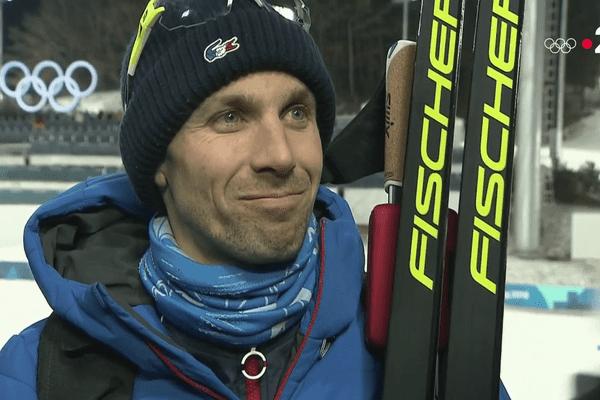 Combiné nordique : le géromois, Maxime Laheurte (14e) après l'arrivée de l'épreuve des jeux Olympiques d'hiver à Pyeongchang (Corée du Sud), mardi 20 février 2018.