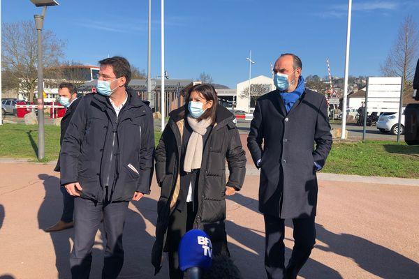 Nicolas Mayer-Rossignol, Anne Hidalgo et Edouard Philippe réunis à Rouen jeudi 11 février 2021.