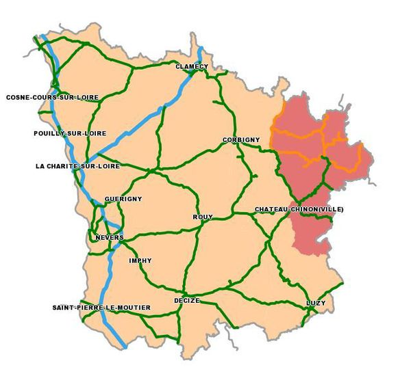 Carte des routes de la Nièvre le 24 janvier 2019