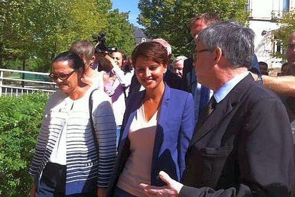 Najat Vallaud-Belkacem , la ministre de l'Education, participe à la prérentrée des enseignants au lycée polyvalent Hippolyte-Fontaine, à Dijon, en Côte-d'Or, lundi 31 août 2015.