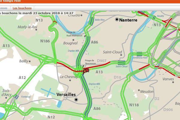 Accident sur l'A13 en direction de Paris au niveau de Vaucresson : deux voies fermées
