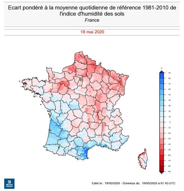 Les sols de Bourgogne - Franche-Comté restent plus secs que la normale en ce mois de mai.