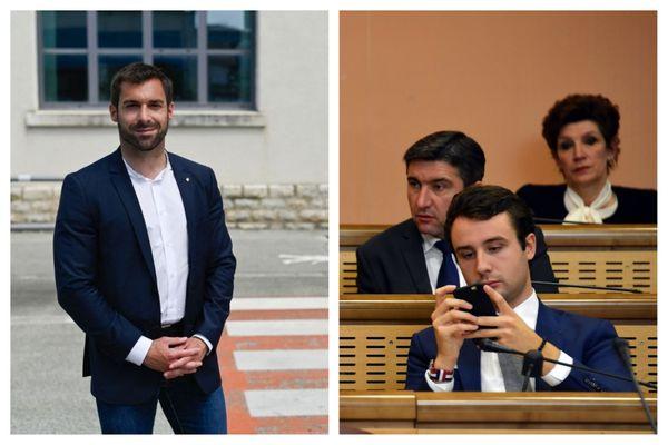 Julien Odoul et Thomas Laval, élus RN au conseil régional de Bourgogne-Franche-Comté, l'un dans l'Yonne, l'autre en Haute-Saône.