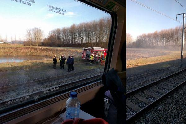 150 passager d'un Thalys Bruxelles-Paris sont bloqués depuis 13h15 à Wannehain, à cause d'un incendie.