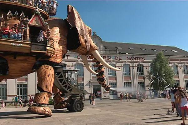 L'éléphant rafraîchit les touristes avec son brumisateur... de quoi oublier la canicule