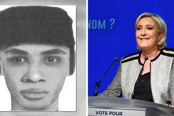 """Sur Twitter, Marine Le Pen a relayé le 4 juin le portrait robot de l'homme suspecté d'avoir tué le jeune Kévin à Mourmelon-le-Grand, le présentant, sans preuve, comme étant """"issu de l'immigration"""". Un tweet, effacé depuis, qui a entraîné une cascade de réactions xénophobes sur les réseaux sociaux."""