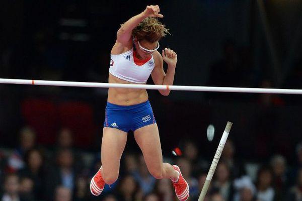 La perchiste Vanessa Boslak lors des Jeux de Londres en 2012.