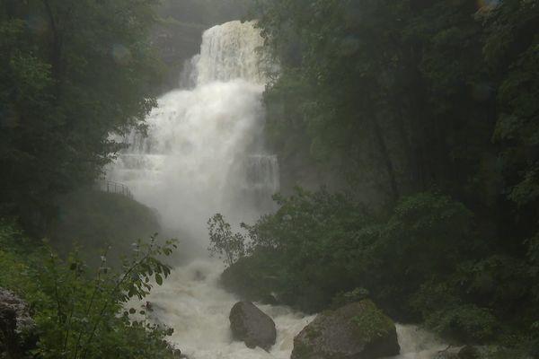 La cascade de l'Eventail le 15 juillet 2021