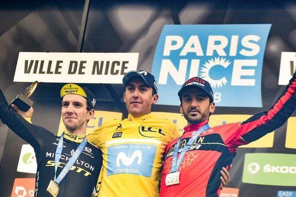Le podium de l'édition 2018 du Paris-Nice avec au centre, l'Espagnol  Marc Soler.