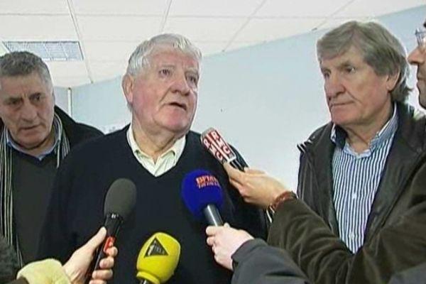 Castelnaudary (Aude) - les frères Spanghero (Laurent et Walter) atterrés de voir leur nom associé à un scandale sanitaire - 14 février 2013.