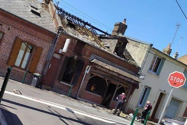 Incendie d'une ancienne charcuterie, rue Carnot à Saint-Just-en-Chaussée, 30 juillet 2020