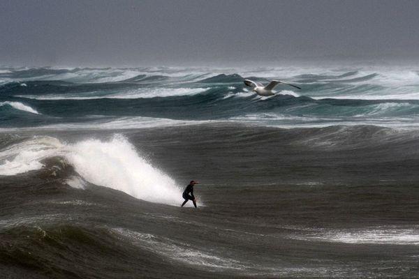 Surf à la pointe de la Torche à Plomeur, dans le Finistère, le 9/08/2019