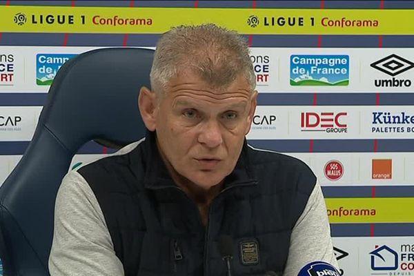 Patrice Garande, l'entraîneur du Stade Malherbe de Caen, ce lundi 22 janvier en conférence de presse avant les 16e de finale de la Coupe de France