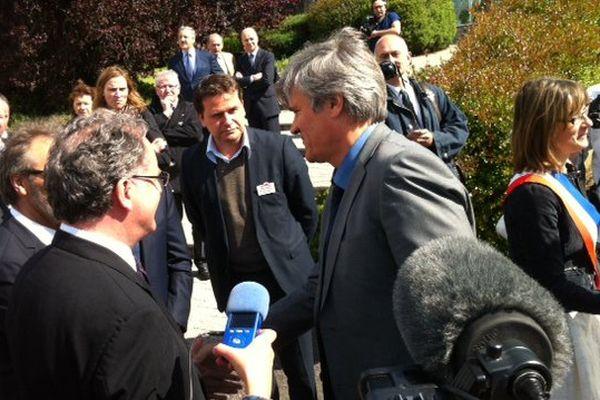 Arrivée du ministre de l'Agriculture, Stéphane Le Foll à Brest