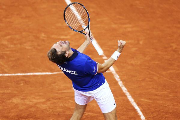 Julien Benneteau lors des quarts de la finale de la coupe Davis le 8 avril 2017