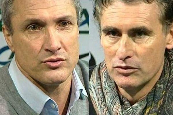 Bernard Casoni, entraîneur de l'AJ Auxerre et Olivier Dall'Oglio, coach du Dijon FCO