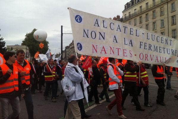 La manif des Alcatel à Nantes, le 22 octobre 2013