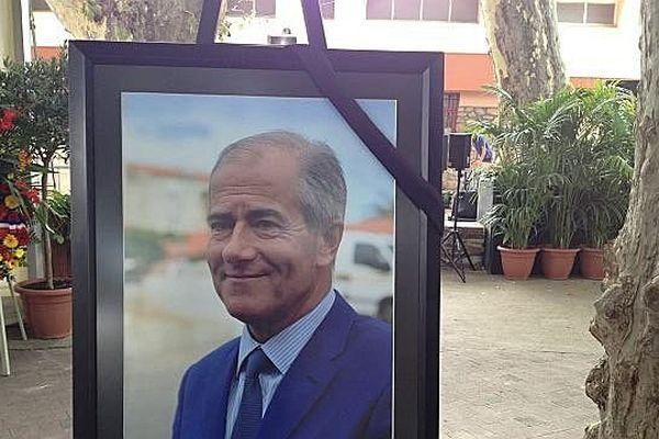 Le portrait de Christian Bourquin lors de la cérémonie d'hommage - 29 août 2014