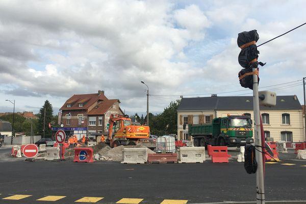 Les travaux du nouveau giratoire entre la route d'Amiens et de Doullens à Abbeville sonne la fin des feux tricolores - Septembre 2019