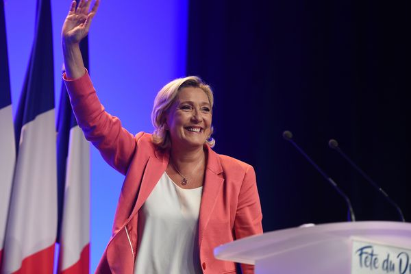 Marine Le Pen, présidente du Rassemblement National (RN) lors de la Fête du drapeau le 23 septembre à Mantes-la-Ville (Yvelines).