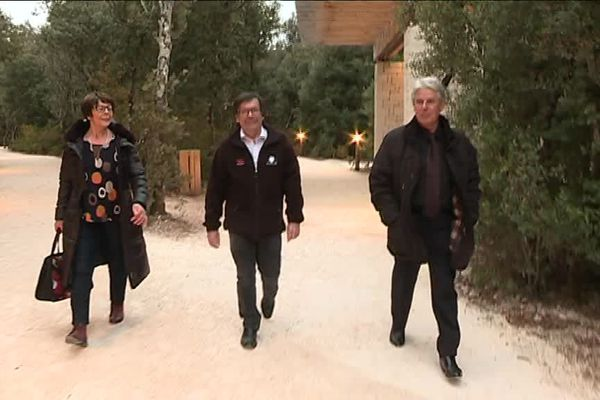 Eliette Brunel, Christian Hilaire et Jean-Marie Chauvet à la Caverne du Pont d'Arc