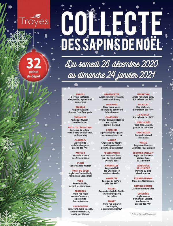 Le prospectus explicatif de la collecte des sapins de Noël 2020 à Troyes.
