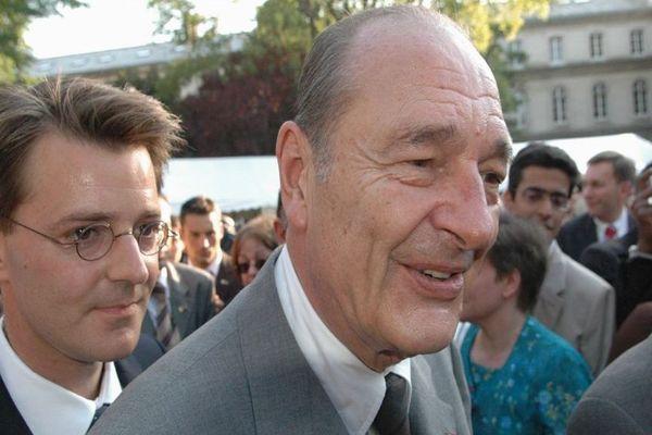 François Baroin aux côtés de Jacques Chirac, le 13 juillet 2005.