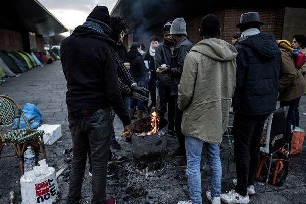 Un camp de migrants à Saint-Denis, près de Paris.