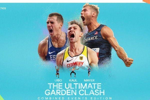 """L'affiche de la compétition """"Ultimate Garden Clash"""", un triathlon international à distance. Kevin Mayer le disputera depuis Montpellier."""