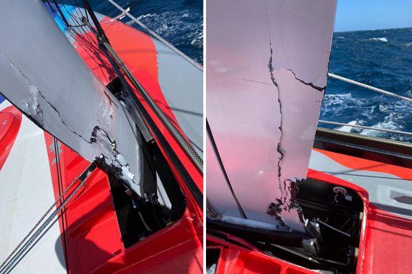 Le foil tribord d'Arkea Paprec lourdement endommagé le 2 décembre 2020