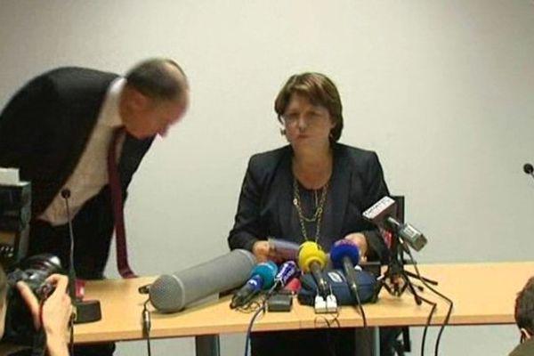 Martine Aubry, ce mercredi soir à LMCU, à l'issue de la réunion avec les maires de la métropole.