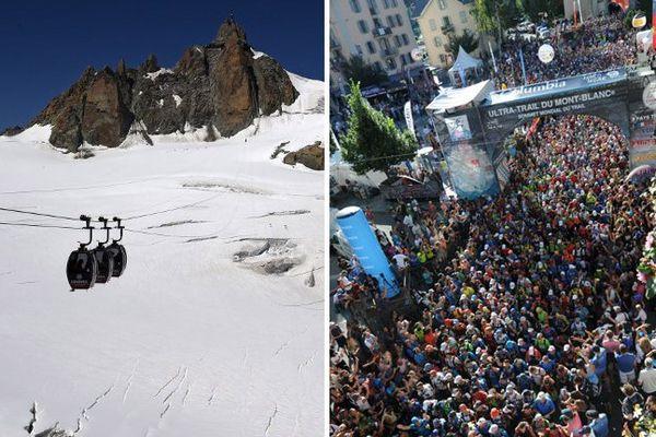 Les télécabines du Panoramic Mont-Blanc et le départ de l'UTMB à Chamonix
