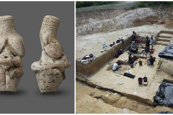 La statuette (à gauche) découverte en juillet sur le site de Renancourt (à droite).