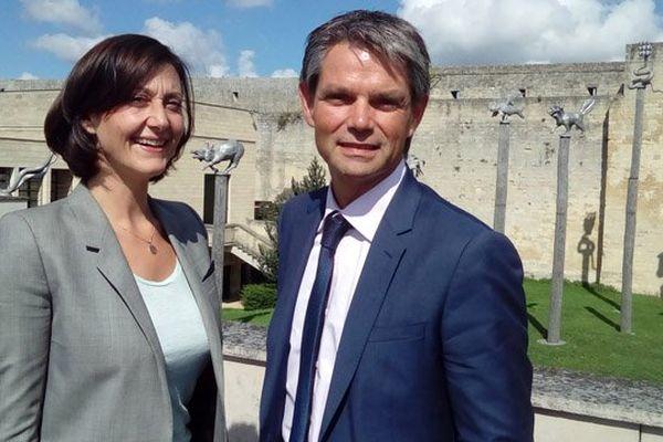 """Rodolphe Thomas (Modem) et Sophie Gaugain (Les Républicains) ce mardi après-midi à Caen lors de la présentation de leur """"binôme"""" pour les régionales dans le Calvados"""