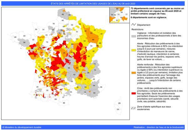 Carte de France arrêtés sécheresse au 06/08/2020