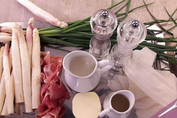 Les ingrédients du croustillantd'asperge et son velouté