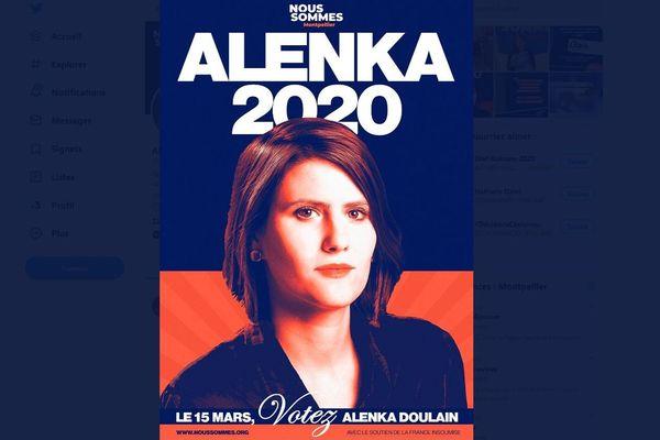 Depuis quelques jours, les affiches de campagne d'Alenka Doulain fleurissent sur les murs de la ville de Montpellier.