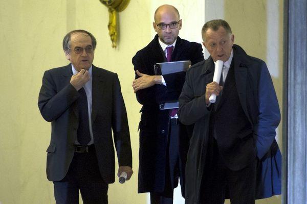 JM.Aulas et Le Graet à leur sortie de l'Elysée après leur entrevue avec F.Hollande qui n'avait rien donné