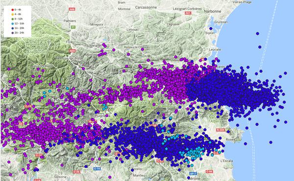 Localisation des éclairs ces dernières 24 heures - 11/07/2017
