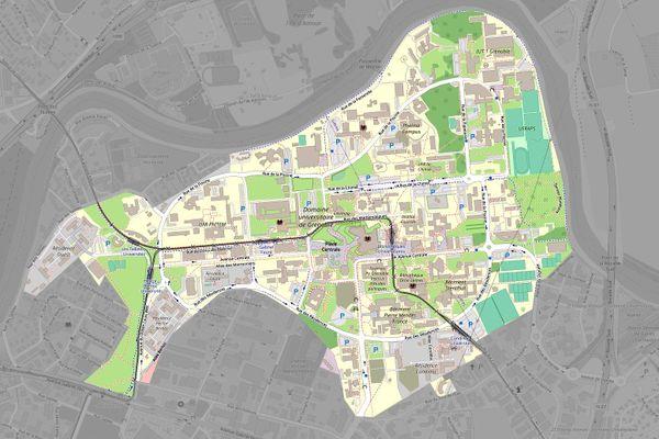 Le périmètre de l'Université Grenoble-Alpes où le port du masque est imposé.