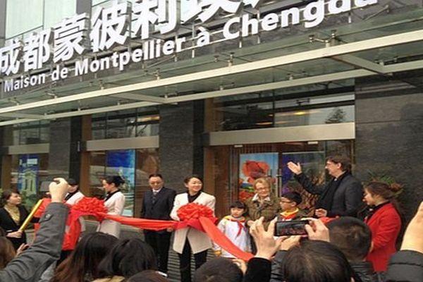 Chengdu (Chine) - Inauguration de la maison de Montpellier par Hélène Mandroux - mars 2014.