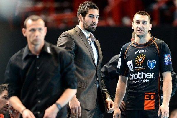 Nikola Karabatic et Patrice Canayer au Palais des sports de Bercy le 15 avril 2012