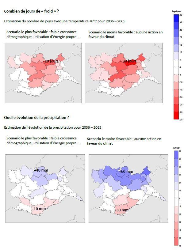 Sur cette carte, l'évolution des précipitations et du nombre de jours de froid dans les régions françaises (Provence-Alpes-Côte d'Azur et Auvergne-Rhône-Alpes) et italiennes (Ligurie, Piémont et vallée d'Aoste) est mis en évidence.